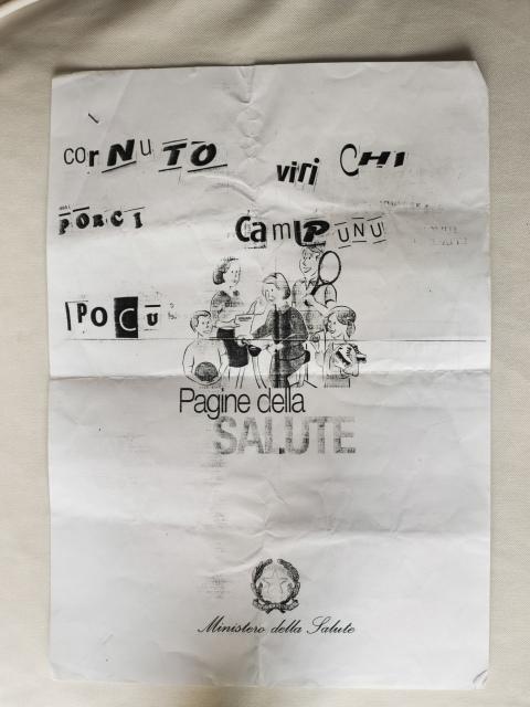 """""""Pass auf, Gehörnter! Schweine leben nicht lang"""", Drohbrief, Lazzaro, Provinz Reggio Calabria, 2012"""