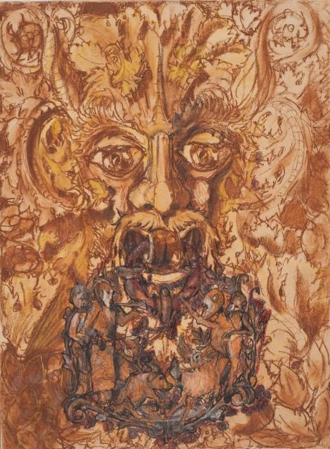 Franz Karl Bühler, Ohne Titel, 1909, Kreide, Lavierungen, Weißhöhungen auf Zeichenpapier Inv. Nr. 2934 recto