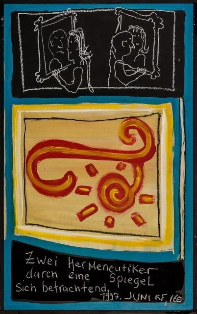 Laurie Berner, Zwei Hermeneutiker durch einen Spiegel sich betrachtend, 1997