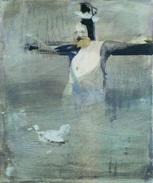 Siegfried Anzinger, Kreuzigung und Taufe, 2000, Leimfarbe auf Leinwand