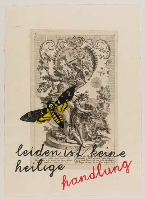 Zenita Komad, Leiden ist keine heilige Handlung, 2013, Tuschezeichnung und Collage auf Büttenpapier