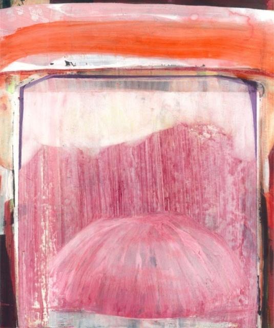 Jenny Forster, Neun Blätter_05, 2015, Mischtechnik auf Papier und Holz, 35 x 30 cm