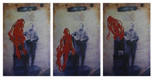 Anja Güthoff, 10:15, 10:17, 10:22, 2014, dreiteilige Arbeit, Acrylmalerei auf Fotografie (Direktdruck auf gebürstetem Aluminium), 50 x 75 cm, Auflage 1/3