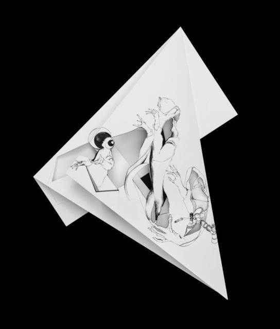 Nina Annabelle Märkl, Fragmented Fiction XIII, 2016, Cut-Out und Tuschezeichnung auf gefaltetem Papier, 45 x 39 cm, Foto: Walter Bayer