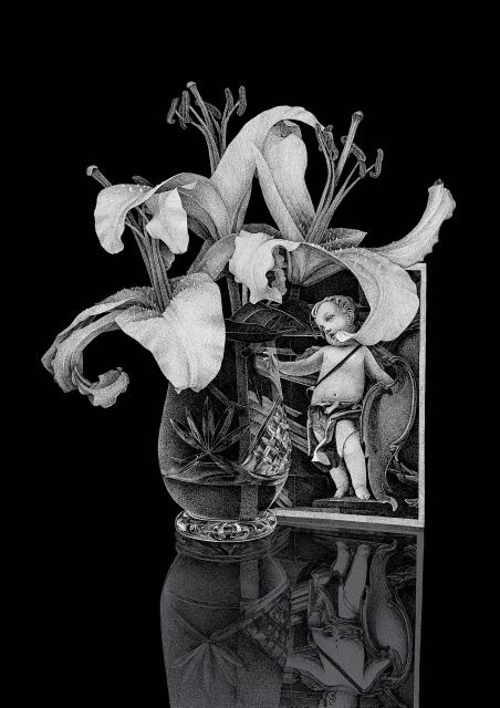 Thilo Westermann, Lilien und Karte mit Putto, 2013, Unikatdruck, Diasec, 126 x 88,8 cm,