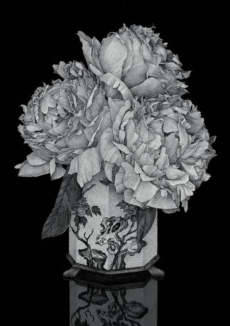 Thilo Westermann, Vanitas (Paeonia lactiflora) 2, 2014, Unikatdruck, Diasec, 126 x 85 cm,