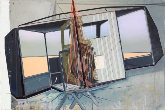 Christian Hellmich, Bühnenbild, 2015, Öl auf Leinwand, 140 x 210 cm