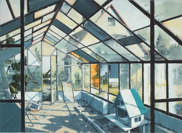 Sven Kroner, Gewächshaus, 2015, Acryl auf Leinwand, 160 x 230 cm, Sammlung Glampe, Berlin
