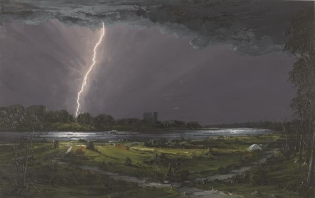 Sven Kroner, Am Rhein 2, 2010, Acryl auf Leinwand, 170 x 270 cm