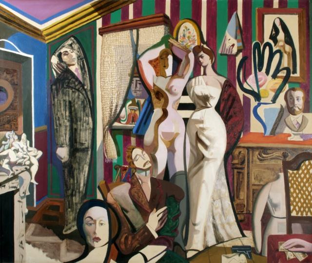 Karl Kunz, Parade der Irrtümer, 1953, Öl auf Hartfaser, 130 x 156 cm