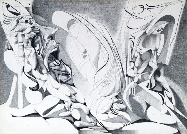 Karl Kunz, Illustration zu Dantes Inferno, 18. Gesang, Blatt 40, 1955, Tusche auf Papier, 36 x 51 cm