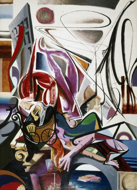 Karl Kunz, Bombenangriff, 1954, Öl auf Hartfaser, 170 x 125 cm