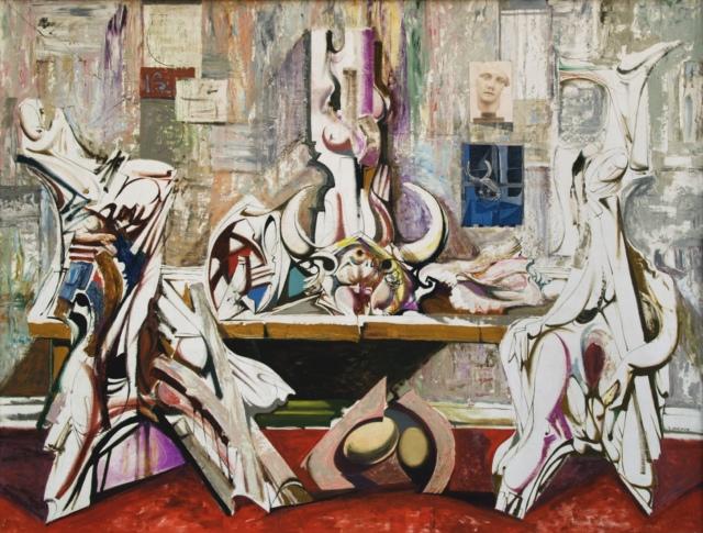 Karl Kunz, Das Festmahl, 1959, Öl mit Collage auf Hartfaser, 130 x 170 cm