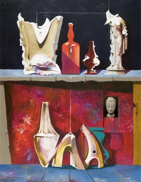 Karl Kunz, Stillleben mit roter Flasche, 1960, Öl mit Collage auf Hartfaser, 130 x 100 cm