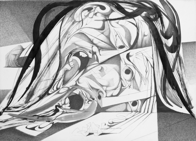 Karl Kunz, Illustration zu Dantes Inferno, 33. Gesang, Blatt 58, 1956, Tusche auf Papier, 36 x 51 cm