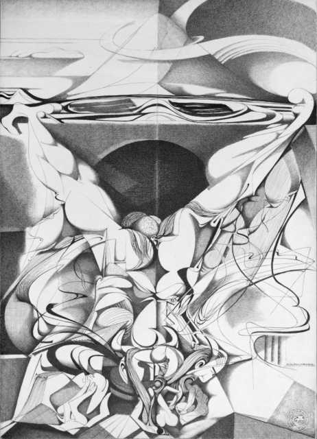 Karl Kunz, Illustration zu Dantes Inferno, 34. Gesang, Blatt 61, 1956, Tusche auf Papier, 51 x 36 cm