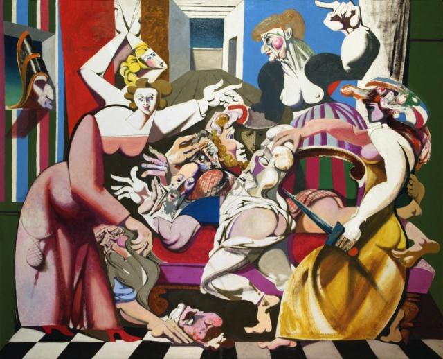Karl Kunz, Die lustigen Weiber, 1961, Öl auf Hartfaser, 130 x 160 cm