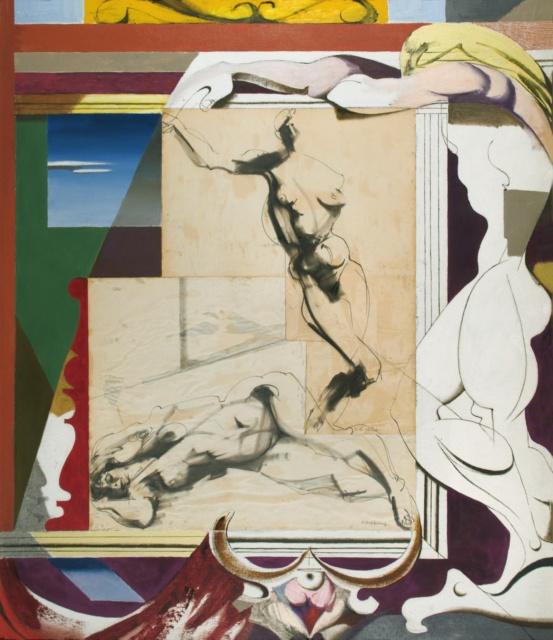 Karl Kunz, Collage mit weiblichen Akten, 1961, Öl mit Collage auf Hartfaser, 130 x 110 cm