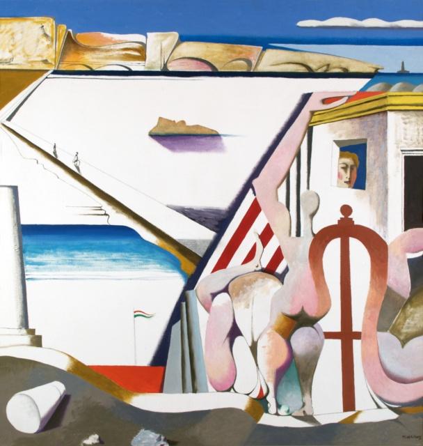 Karl Kunz, Am Meer, 1968, Öl auf Hartfaser, 136 x 132 cm