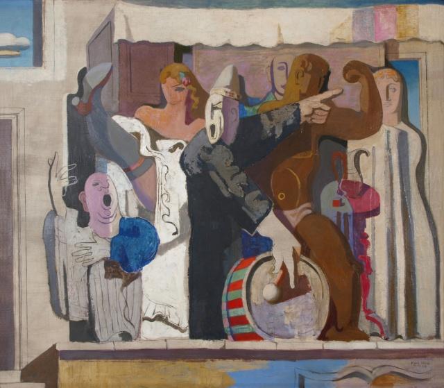 Karl Kunz, Jahrmarktparade, 1938, Öl auf Leinwand, 115 x 130 cm