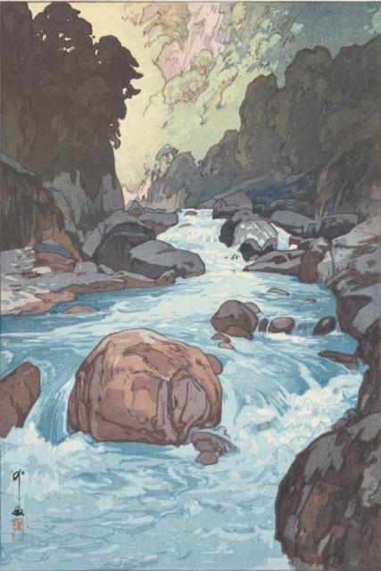 Hiroshi Yoshida, Kurobe River, 1926, Farbholzschnitt