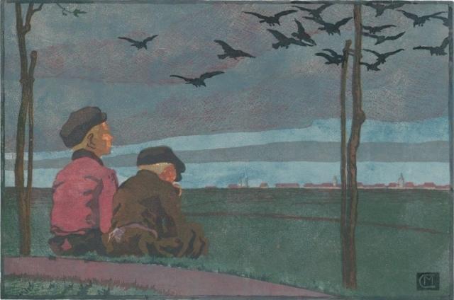 Martha Cunz, Feierabend, 1906, Farbholzschnitt