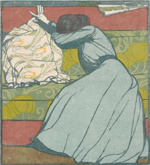 Max Kurzweil, Der Polster, 1903, Farbholzschnitt