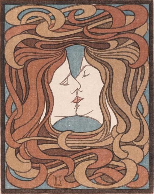 Peter Behrens, Der Kuss, 1898, Farbholzschnitt