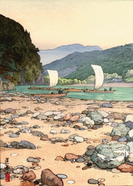 Toshi Yoshida, Tenryu river, 1942, Farbholzschnitt