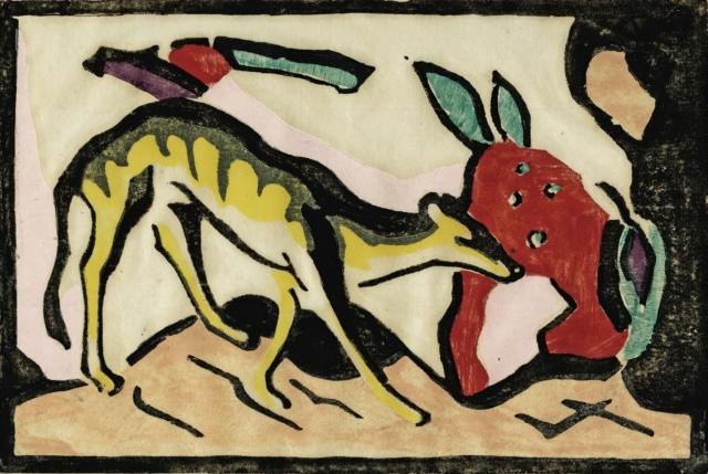 Franz Marc, Fabeltier, 1912, Holzschnitt, mit Schablone koloriert