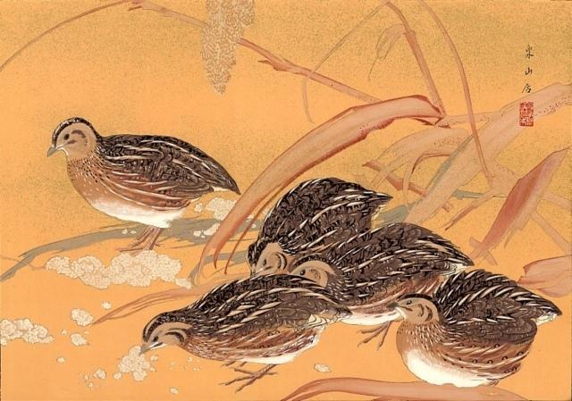 Rakusan Tsuchiya, Wachteln und Reis, 1931, Farbholzschnitt