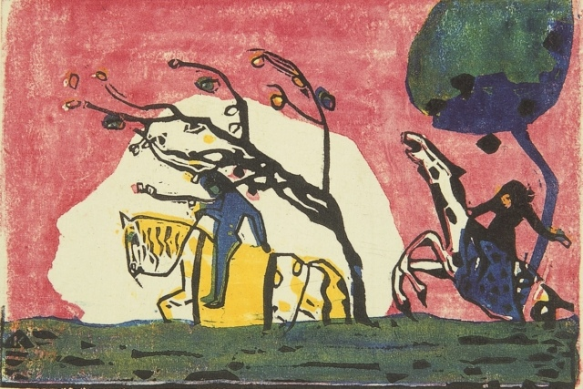Wassily Kandinsky, Reiter vor Rot I, 1911, Farbholzschnitt