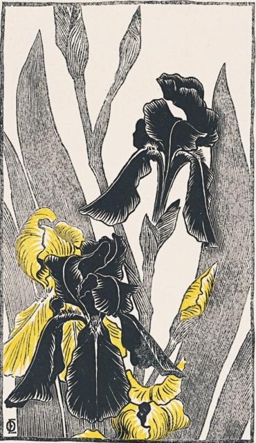 Otto Eckmann, Schwertlilien, 1895, Farbholzschnitt