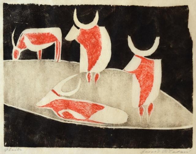 Ewald Mataré, Weide XXVII B, 1928, Farbholzschnitt