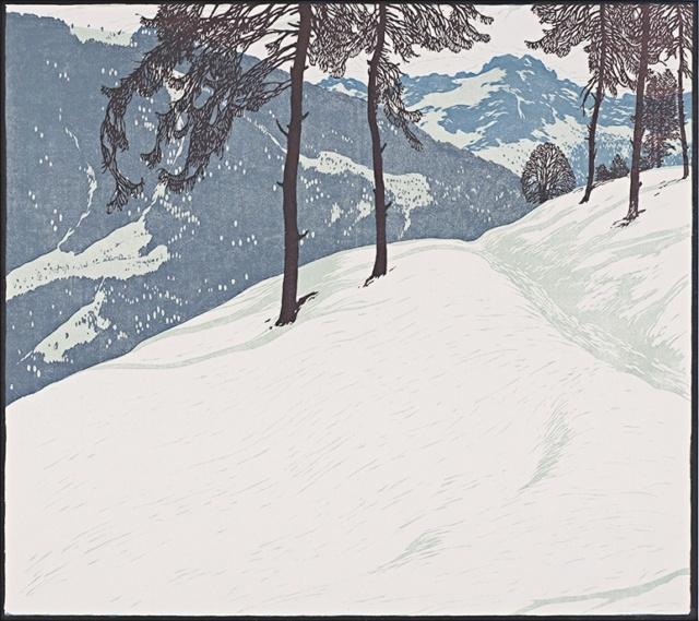 Josef Stoitzner, Aus den Tauern, 1912, Farbholzschnitt