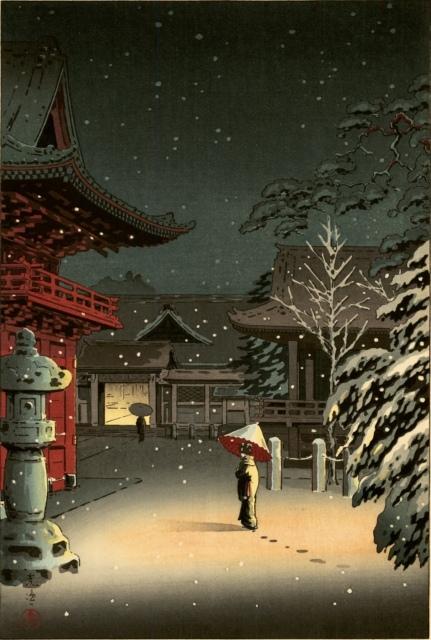 Tsuchiya Kôitsu, Nezu Jinja (Der Schrein von Nezu), 1934, Farbholzschnitt