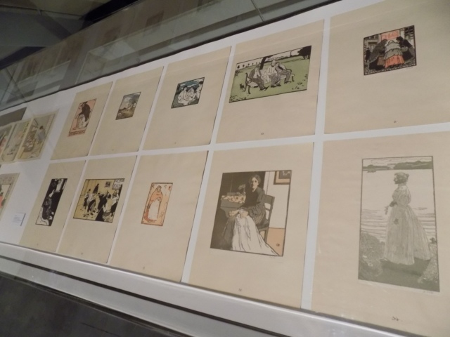 Kunsthaus Kaufbeuren, Ausstellung CROSSING CULTURES, Ansicht von Vitrine mit Werken von Emil Orlik
