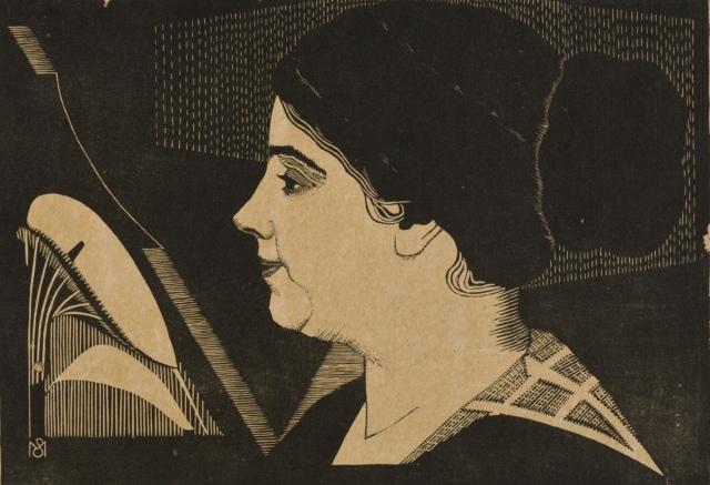 Samuel Jessurun de Mesquita, Porträt von Jacqueline Gomperts, um 1921, Holzschnitt