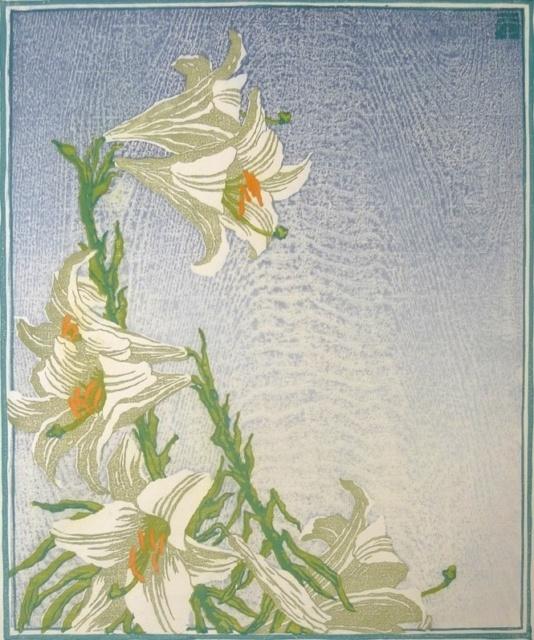 Carl Thiemann, Weiße Lilien, 1917/26, Farbholzschnitt