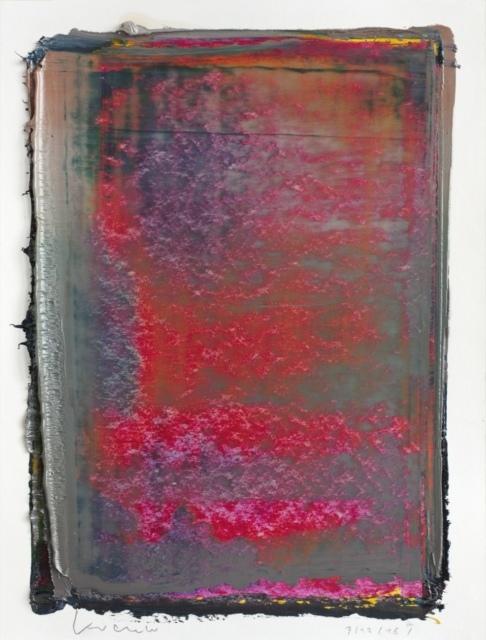 Peter Krauskopf, Studie 7/12/16, 2016, Öl und Alkydharz auf Bütten, 40 x 30 cm