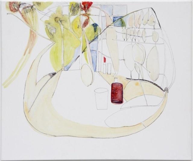 Sophie Schmidt, Atelierinterieur mit Bauchigung in Maastricht 2, 2017, Aquarell, Tinte und Ei auf Leinwand, 100 x 120 cm