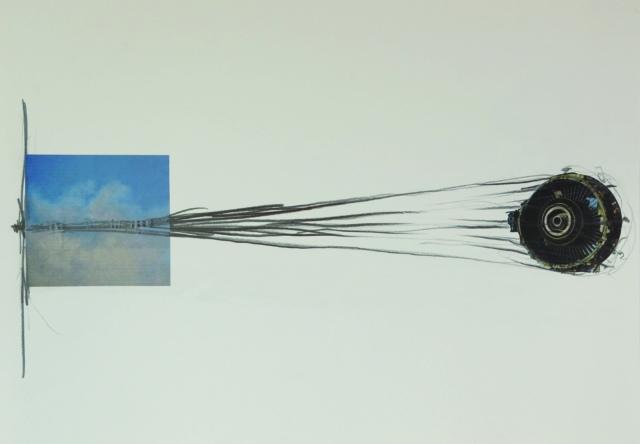 Sebastian Mayrhofer, Auftrieb1, 2018, Zeichnung und Collage, 43 x 61 cm
