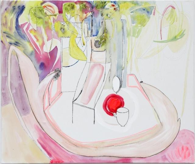 Sophie Schmidt, Atelierinterieur mit Bauchigung in Maastricht 3, 2017, Aquarell, Tinte und Ei auf Leinwand, 100 x 120 cm