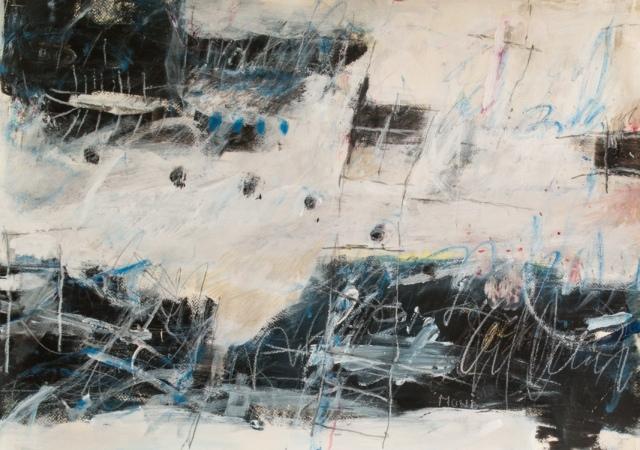 Monika Petri, Wintergeschichte, 2018, Mischtechnik auf Papier, 50 x 70 cm