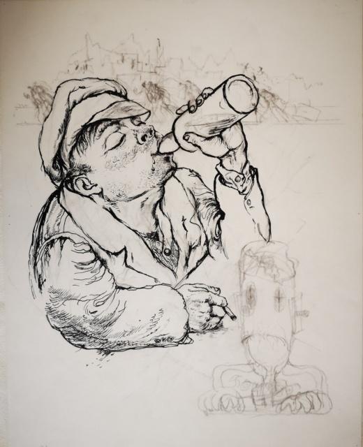 George Grosz, Wodka, 1950, Rohrfeder, Feder und Kreide, 501 x 393 mm,
