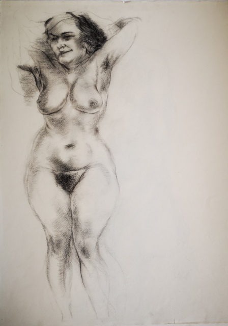 George Grosz, Standing Female Nude (Eva), 1945, Kohle, 633 x 482 mm,