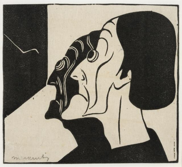 Samuel Jessurun de Mesquita, Ohne Titel (Zwei Profile), 1914, Holzschnitt, 136 x 150 mm,