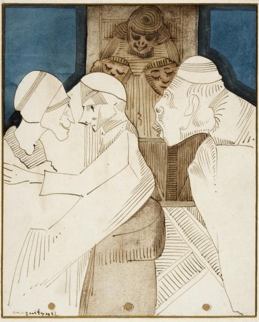 Samuel Jessurun de Mesquita, Ohne Titel (Fantasie), 1932, Aquarell und Tusche, 215 x 175 mm,