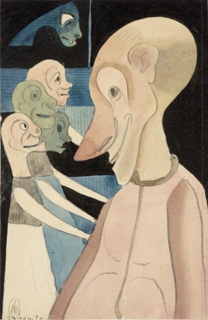 Samuel Jessurun de Mesquita, Ohne Titel (Fantasiezeichnung), um 1904, Bleistift, Tusche und Aquarell, 165 x 107 mm,