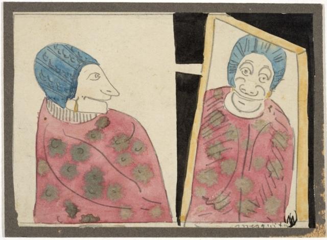 Samuel Jessurun de Mesquita, Ohne Titel (Fantasie, Frau und Spiegelbild), um 1905, Bleistift, Aquarellfarbe und Feder in schwarzer Tusche, 104 x 145 mm,